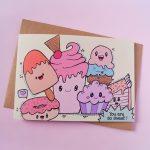 Gevouwen kaart met zoete monstertjes en tekst 'you're so sweet'